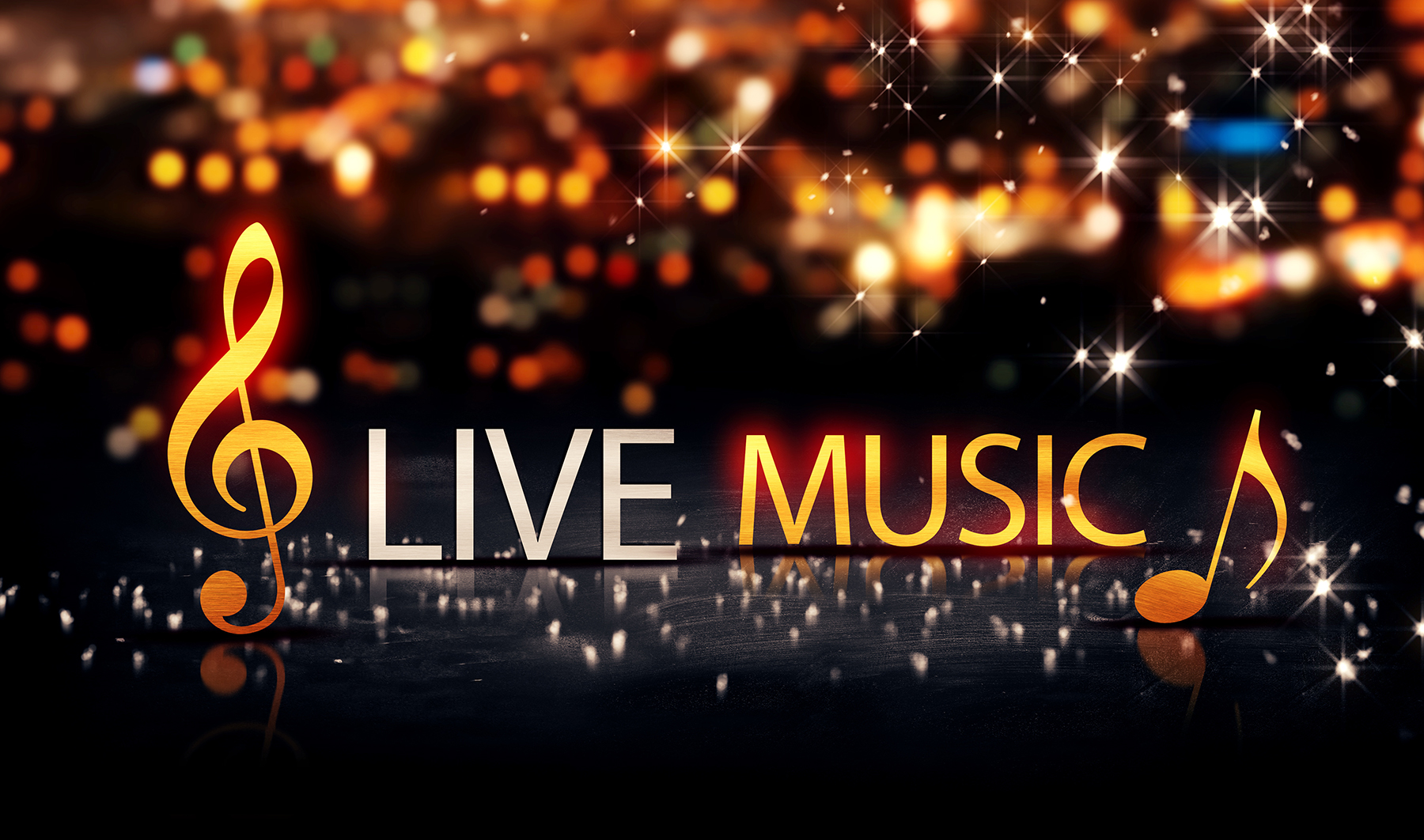 Live Music Gold Silver City Bokeh Star Shine Yellow Background