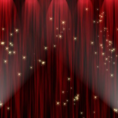 Large red curtain with spotlight